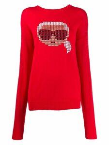 Karl Lagerfeld Karl pixel motif jumper - Red