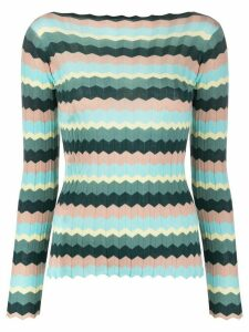 Roberto Collina long sleeve striped knitted top - Green