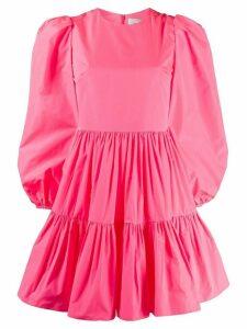 Valentino puff sleeves ruffled mini dress - PINK