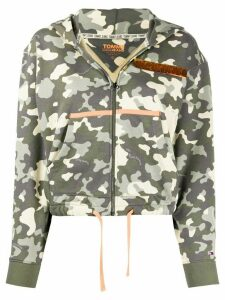Tommy Jeans camouflage print zipped hoodie - Green
