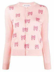 Comme Des Garçons Girl bow-jacquard cardigan - PINK