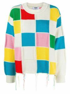MSGM colour-block knit jumper - White