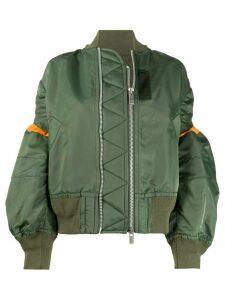 Sacai contrast-panel oversized bomber jacket - Green