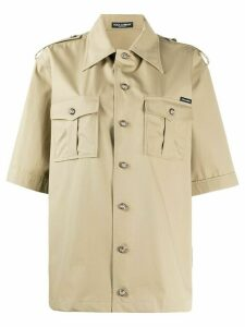 Dolce & Gabbana oversized poplin safari shirt - Brown
