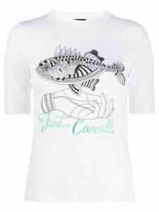 Just Cavalli logo graphic print T-shirt - White