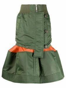 Sacai deconstructed peplum-hem midi skirt - Green