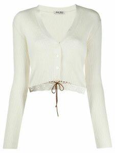 Miu Miu crochet detail cardigan - White