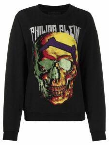 Philipp Plein rhinestone logo skull sweatshirt - Black