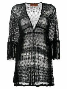 Missoni Mare fringed-sleeve knitted dress - Black