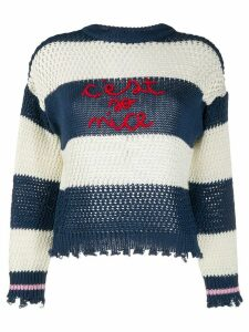 Pinko logo stripe jumper - Blue