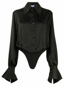Mugler pointed collar long sleeve shirt - Black