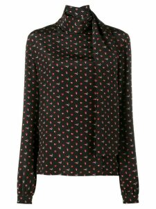 Saint Laurent micro heart and lightning bolt print blouse - Black