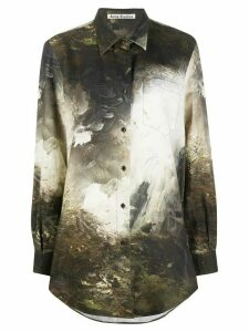 Acne Studios landscape painting print shirt - Brown