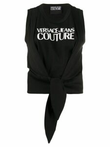 Versace Jeans Couture tied-hem logo tank top - Black