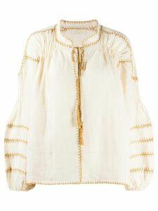 Mes Demoiselles stitch detailed blouse top - NEUTRALS