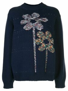 M Missoni flower knit oversized jumper - Blue