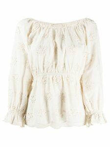 Mes Demoiselles floral embroidered fitted top - NEUTRALS