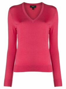Theory fine knit v-neck jumper - PINK
