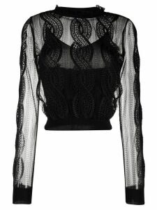 Alexander McQueen sheer embroidered knitted top - Black