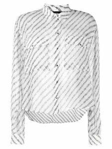 Diesel slogan stripe blouse - White