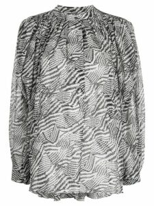 Isabel Marant abstract-print pleated blouse - White