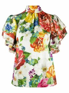 Dolce & Gabbana floral print high-neck top - White