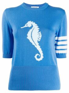 Thom Browne seahorse detail knitted top - Blue