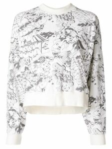 Bassike long sleeve printed jersey sweat - White