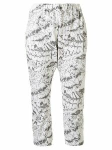 Bassike double jersey printed pant - White