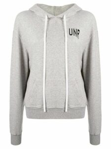 UNRAVEL PROJECT logo-print long-sleeved hoodie - Grey
