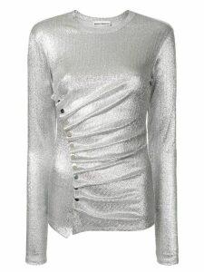 Paco Rabanne draped button blouse - SILVER