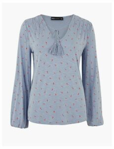 M&S Collection Floral Tie Neck Relaxed Blouse