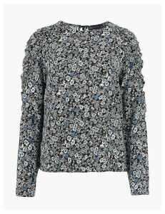 M&S Collection Floral Print Gathered Long Sleeve Blouse