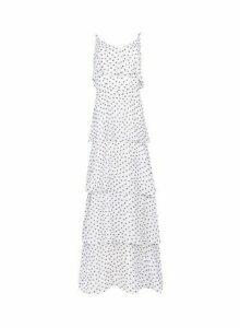 Womens Dp Tall White Spot Print Tiered Frill Maxi Dress, White