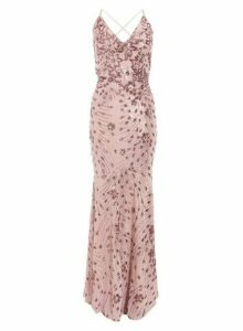 Womens Quiz Pink Sequin Cross Back Maxi Dress, Pink