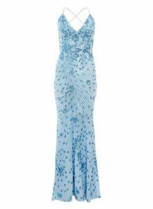 Womens Quiz Blue Sequin Cross Back Maxi Dress, Blue