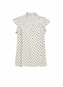 Womens Dp Petite Ivory Spot Print High Neck Top, Ivory