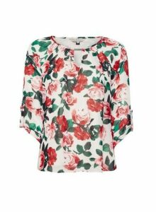 Womens Billie & Blossom Blush Rose Print Trim Detail Blouse - Pink, Pink