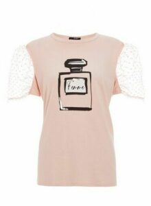 Womens Quiz Pink Slogan Organza Sleeve Top, Pink