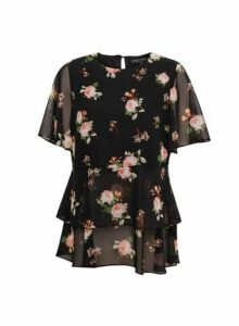 Womens Black Floral Print Tiered Top, Black
