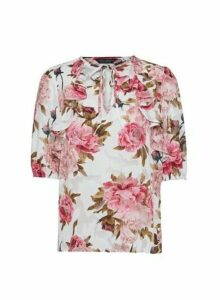 Womens Pink Burn Out Rose � Sleeve Top, Pink