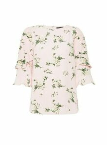 Womens Pink Recycled Polyester Floral Print � Sleeve Top, Pink