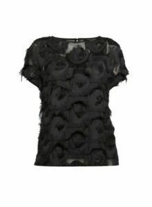 Womens Black Textured Blouse, Black
