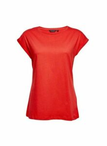 Womens Red Roll Sleeve T-Shirt, Red
