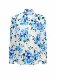 Womens Billie & Blossom Black Label Blue Floral Print Top - White, White