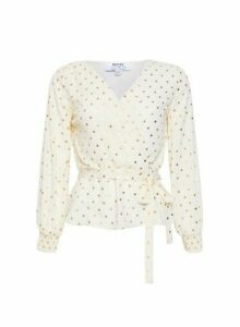 Womens Dp Petite Ivory Foiled Spot Print Wrap Top - White, White