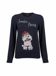 Womens Navy 'Santa Paws' Jumper - Blue, Blue
