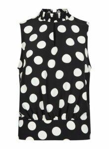 Womens Black Spot Print Shirred Sleeveless Top, Black