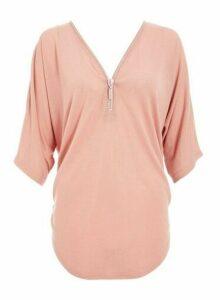 Womens Quiz Pink Light Knit Diamante Top, Pink