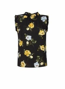 Womens Billie & Blossom Petite Lemon And Black Floral Print Top, Black